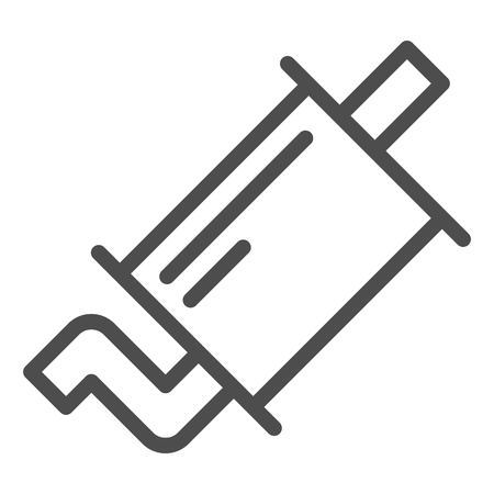 Exhaust pipe line icon. Muffler vector illustration isolated on white. Car part outline style design, designed for web and app.