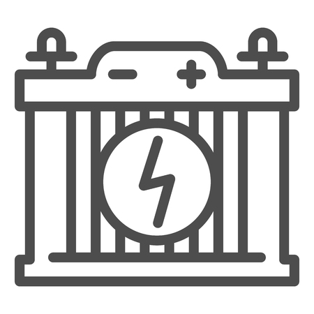 Accumulator line icon. Car battery vector illustration isolated on white. Power outline style design, designed for web and app.  イラスト・ベクター素材