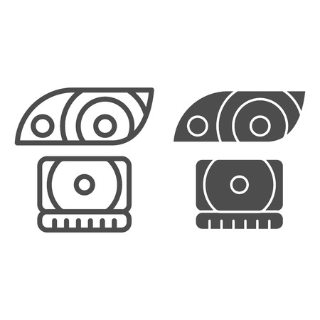 Headlight line and glyph icon. Lamp vector illustration isolated on white. Car light outline style design, designed for web and app