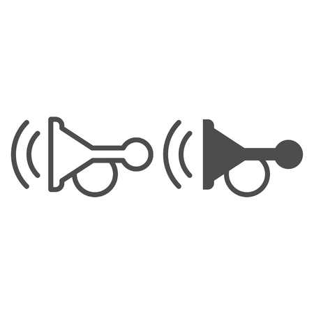 Beep line and glyph icon. Horn vector illustration isolated on white. Car signal outline style design, designed for web and app.