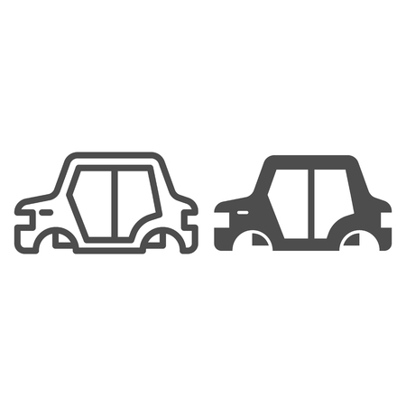Car body line and glyph icon. Car frame vector illustration isolated on white. Car part outline style design, designed for web and app.