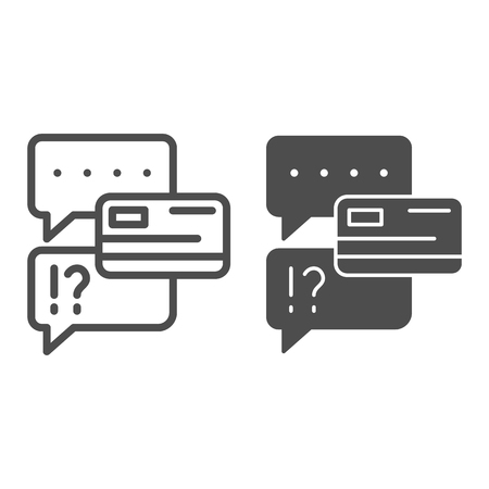 Chat bubble with credit card line and glyph icon. Dialogue with extortion of credit card vector illustration isolated on white. Speech bubble and credit card outline style design, designed for web and app. Eps 10 Foto de archivo - 123084610