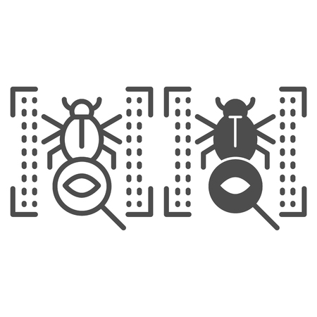 Vulnerability scan line and glyph icon. Bug search vector illustration isolated on white. Virus scan outline style design, designed for web and app. Eps 10