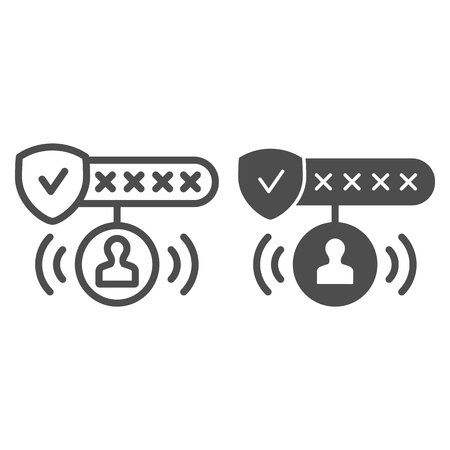 Password protected line and glyph icon. Password authorization vector illustration isolated on white. Strong password outline style design, designed for web and app. Eps 10