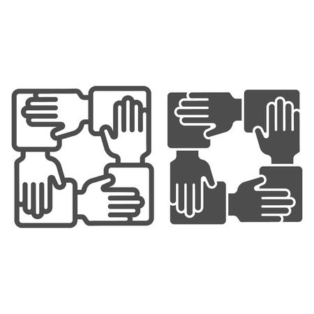 Collaboration line and glyph icon. Hands community vector illustration isolated on white. Teamwork outline style design, designed for web and app. Illustration