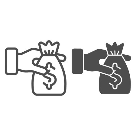 Bag of money in the hands line and glyph icon. Donation vector illustration isolated on white. Cash outline style design, designed for web and app.