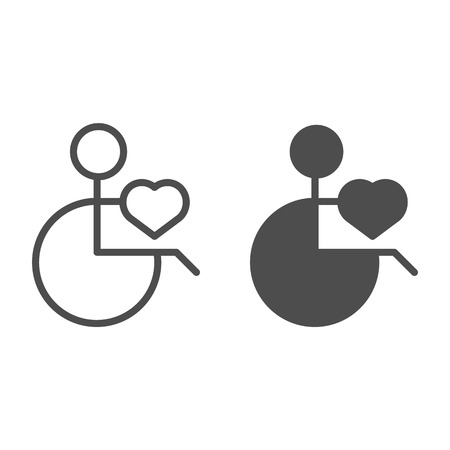 A man on a wheelchair line and glyph icon. Disabled man vector illustration isolated on white. Patient on disability carriage outline style design, designed for web and app.