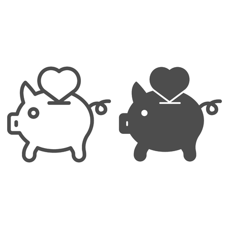 Saving love line and glyph icon. Piggy bank and heart vector illustration isolated on white. Hand putting heart in pig outline style design, designed for web and app. 일러스트