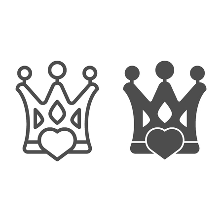 Crown with heart line and glyph icon. Status vector illustration isolated on white. Love queen outline style design, designed for web and app. Illustration