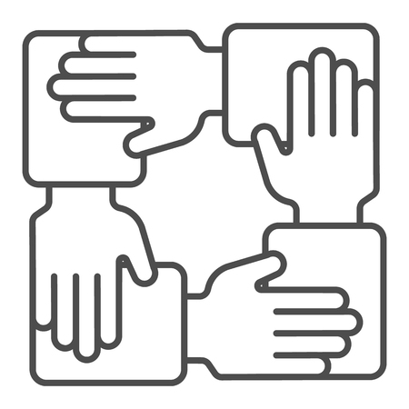Collaboration thin line icon. Hands community vector illustration isolated on white. Teamwork outline style design, designed for web and app.