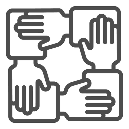 Collaboration line icon. Hands community vector illustration isolated on white. Teamwork outline style design, designed for web and app.