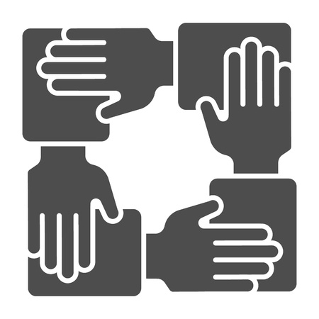 Collaboration solid icon. Hands community vector illustration isolated on white. Teamwork glyph style design, designed for web and app.