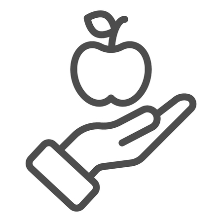 Apple in hand line icon. Health vector illustration isolated on white. Arm with apple outline style design, designed for web and app.