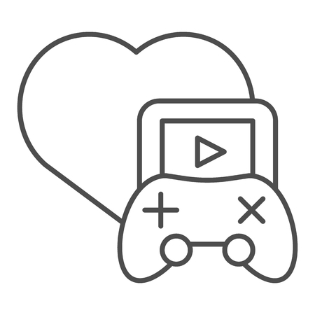 Love gaming thin line icon. Stream game vector illustration isolated on white. Media outline style design, designed for web and app.