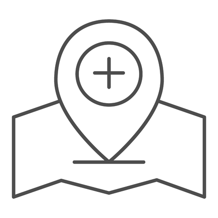 Add location pin thin line icon. Gps pin vector illustration isolated on white. Map pointer and plus outline style design, designed for web and app. Vektoros illusztráció