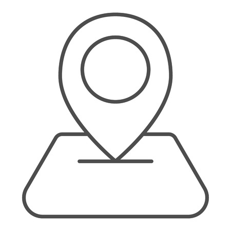 Map pin thin line icon. Direction vector illustration isolated on white. Map pointer outline style design, designed for web and app