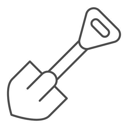 Shovel thin line icon. Tool vector illustration isolated on white. Digger outline style design, designed for web and app.