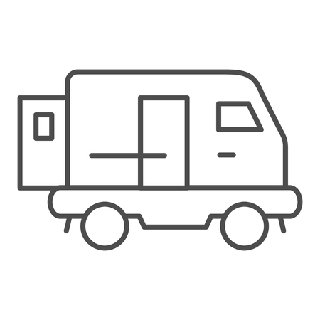 Minibus thin line icon. Transport vector illustration isolated on white. Auto outline style design, designed for web and app. Stock Vector - 124342083