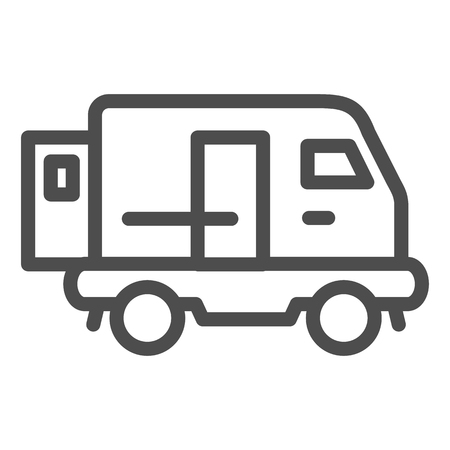Minibus line icon. Transport vector illustration isolated on white. Auto outline style design, designed for web and app
