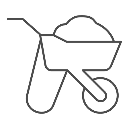 Wheelbarrow thin line icon. Cart vector illustration isolated on white. Barrow outline style design, designed for web and app.
