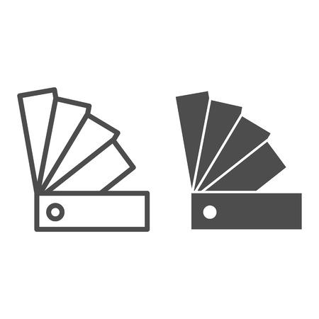 Linea guida del colore e icona del glifo. Illustrazione di vettore della tavolozza isolata su bianco. Design in stile contorno Swatch, progettato per web e app Vettoriali