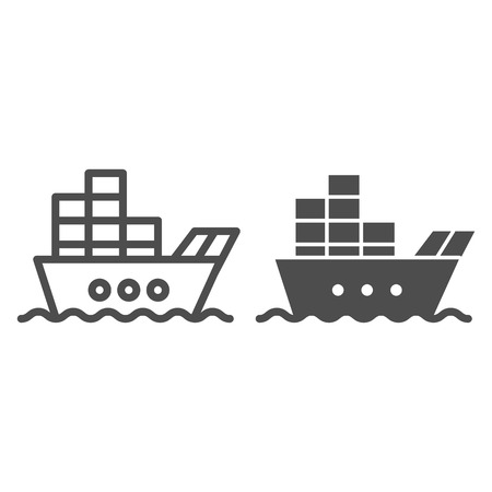 Ship with cargo line and glyph icon. Boat with containers vector illustration isolated on white. Tanker outline style design, designed for web and app.