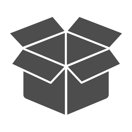 Unboxing solid icon. Package vector illustration isolated on white. Box glyph style design, designed for web and app.
