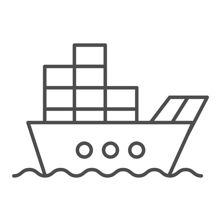 Ship with cargo thin line icon. Boat with containers vector illustration isolated on white. Tanker outline style design, designed for web and app.