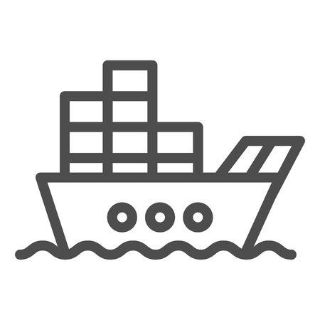 Ship with cargo line icon. Boat with containers vector illustration isolated on white. Tanker outline style design, designed for web and app Illustration