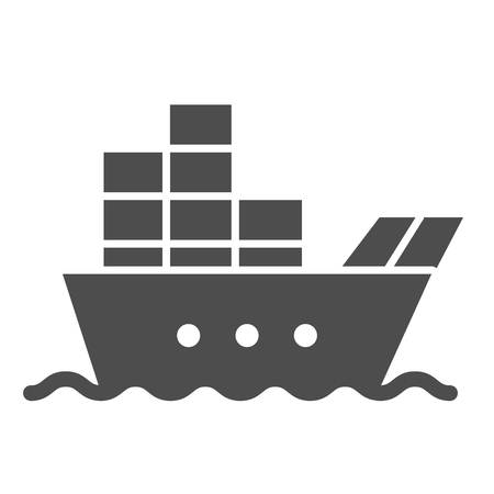 Ship with cargo solid icon. Boat with containers vector illustration isolated on white. Tanker glyph style design, designed for web and app.