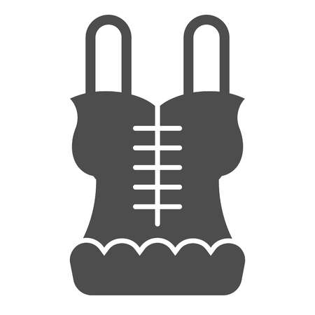 Corset solid icon. Lingerie vector illustration isolated on white. Underwear glyph style design, designed for web and app. . Vettoriali