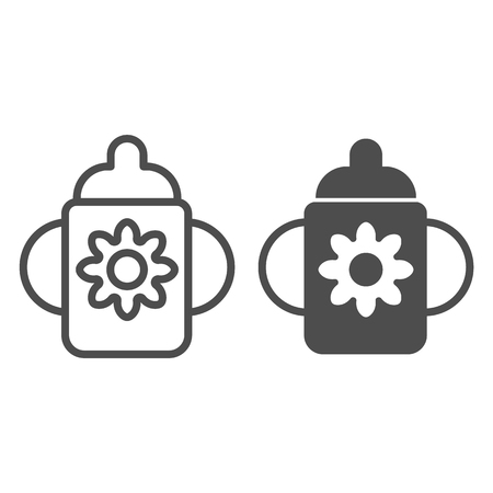 Baby cup line and glyph icon. Cup with dummy vector illustration isolated on white. Child feeding outline style design, designed for web and app. Imagens - 123536958