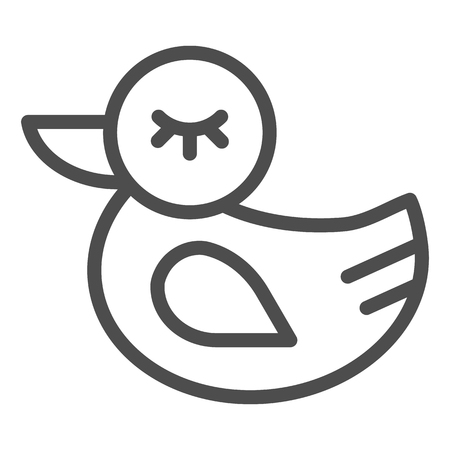 Rubber duck line icon. Toy vector illustration isolated on white. Bath toy outline style design, designed for web and app. Иллюстрация
