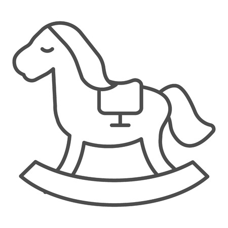 Horse toy thin line icon. Kids toy vector illustration isolated on white. Rocking pony outline style design, designed for web and app. Stock Vector - 123537020