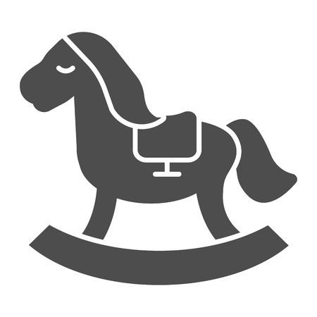 Horse toy solid icon. Kids toy vector illustration isolated on white. Rocking pony glyph style design, designed for web and app.