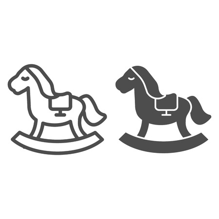 Horse toy line and glyph icon. Kids toy vector illustration isolated on white. Rocking pony outline style design, designed for web and app. Stock Vector - 123537033