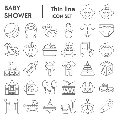 Baby thin line icon set, child symbols collection, vector sketches, illustrations, childhood signs linear pictograms package isolated on white background