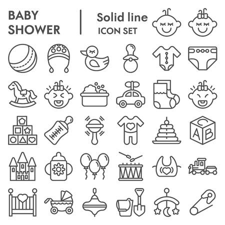 Jeu d'icônes de ligne bébé, collection de symboles d'enfant, croquis de vecteur, illustrations, paquet de pictogrammes linéaires de signes d'enfance isolé sur fond blanc Vecteurs