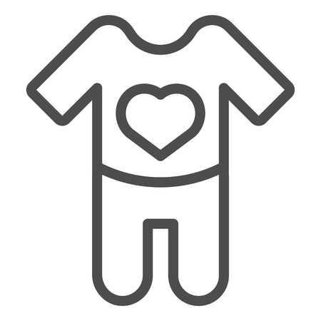 Baby bodysuit line icon. Baby romper vector illustration isolated on white. Child pajama outline style design, designed for web and app.