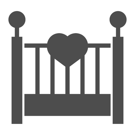 Baby cradle solid icon. Kids bed vector illustration isolated on white. Sleep glyph style design, designed for web and app.
