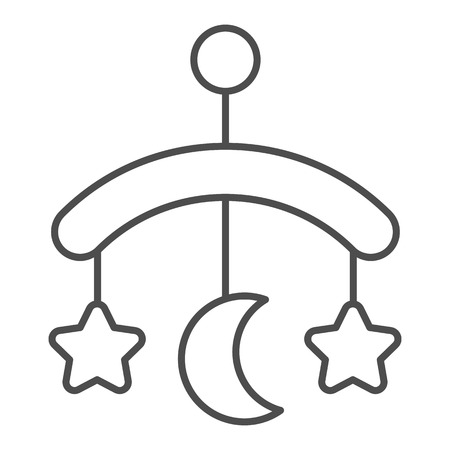 Baby crib toy thin line icon. Hanging toy vector illustration isolated on white. Kids crib toy outline style design, designed for web and app.