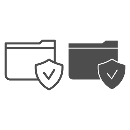 Folder with check mark line and glyph icon. Checked folder vector illustration isolated on white. Verified folder outline style design, designed for web and app. Ilustração