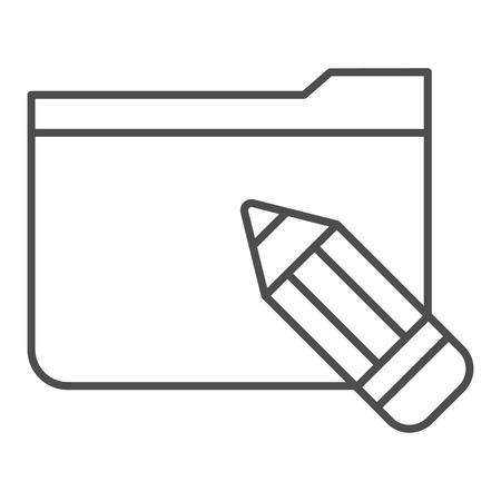 Folder with pencil thin line icon. Folder with sketches vector illustration isolated on white. Computer folder outline style design, designed for web and app.