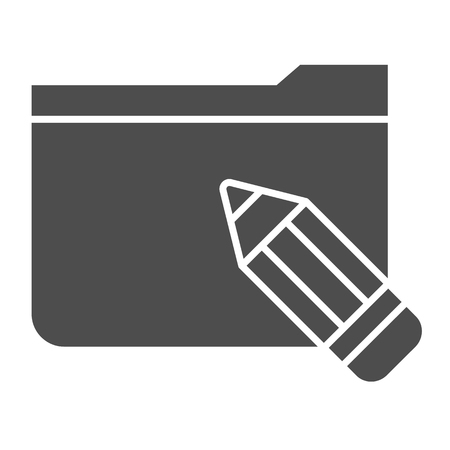 Folder with pencil solid icon. Folder with sketches vector illustration isolated on white. Computer folder glyph style design, designed for web and app.