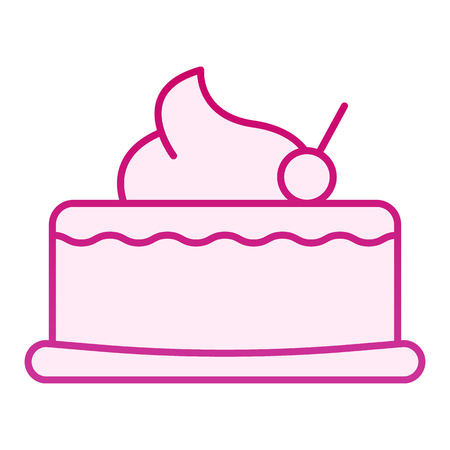 Cherry cupcake flat icon. Cake with cherry pink icons in trendy flat style. Sweet gradient style design, designed for web and app.