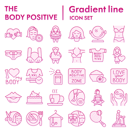 Body positive flat icon set, overweight symbols collection, vector sketches, logo illustrations, figure signs pink gradient pictograms package isolated on white background