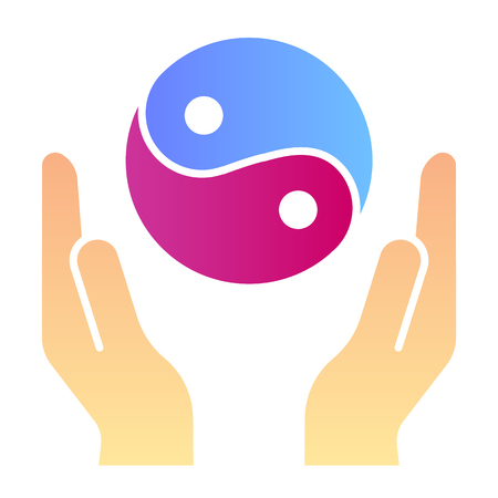 Hands holding yin yang flat icon. Yin yang symbol color icons in trendy flat style. Buddhism gradient style design, designed for web and app. 矢量图像
