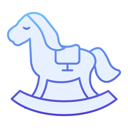 Rocking pony flat icon. Kids toy blue icons in trendy flat style. Horse toy gradient style design, designed for web and app.