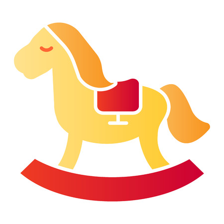 Rocking pony flat icon. Kids toy color icons in trendy flat style. Horse toy gradient style design, designed for web and app.