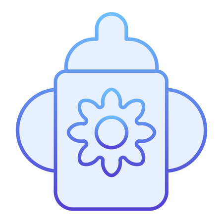 Cup with dummy flat icon. Baby cup blue icons in trendy flat style. Child feeding gradient style design, designed for web and app.